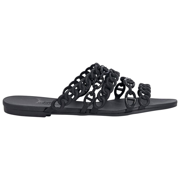 Hermes Black Rubber Chaine d'Ancre Sandals For Sale