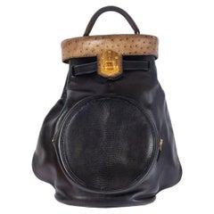 HERMES black Savory leather & Lizard & Grise Ostrich SUMAC Shoulder Bag
