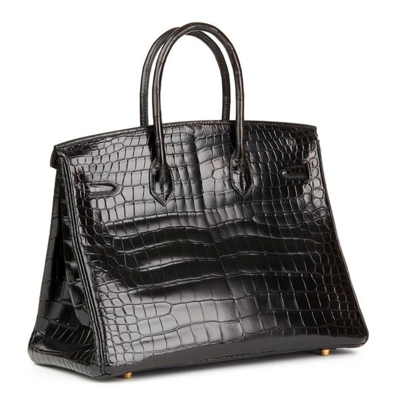 a8711cab7b25 Hermes Black Shiny Crocodile 35cm Birkin Bag For Sale at 1stdibs