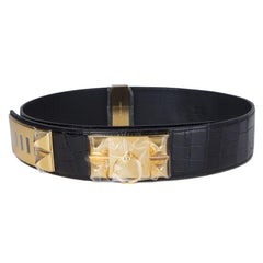 HERMES black shiny CROCODILE & Gold COLLIER DE CHIEN Belt 85