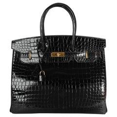 Hermès Black Shiny Porosus Crocodile Birkin 35 GHW