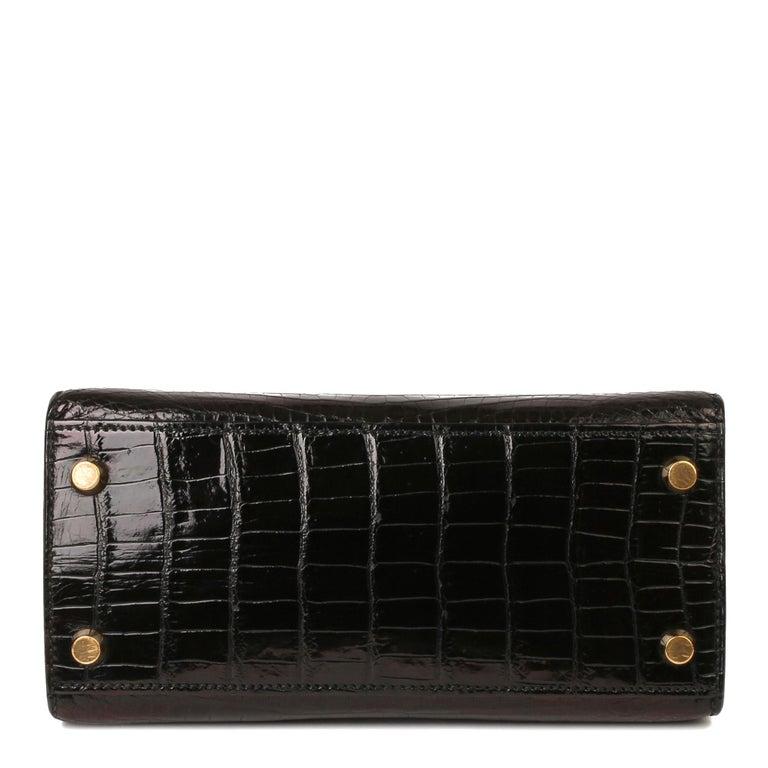 Hermès Black Shiny Porosus Crocodile Leather Vintage Kelly 20cm Sellier 6