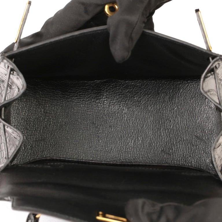 Hermès Black Shiny Porosus Crocodile Leather Vintage Kelly 20cm Sellier 1