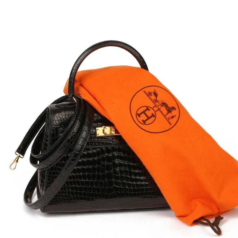 Hermès Black Shiny Porosus Crocodile Leather Vintage Kelly 20cm Sellier 2