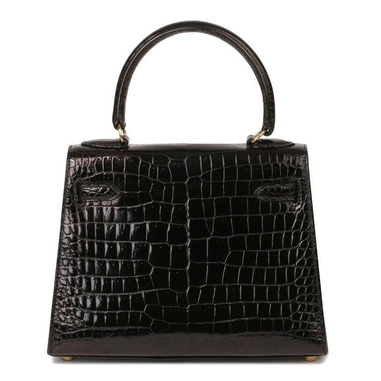 Hermès Black Shiny Porosus Crocodile Leather Vintage Kelly 20cm Sellier 5