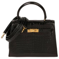 Hermès Black Shiny Porosus Crocodile Leather Vintage Kelly 20cm Sellier