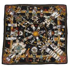 Hermès Black Silk Kachinas Scarf