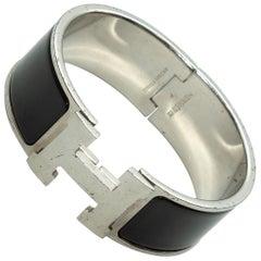 Hermes Black & Silver Clic Clac Bracelet
