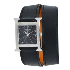 Hermès Black Stainless Steel Leather Wrap H HH1.510 Women's Wristwatch 26 MM
