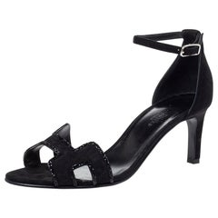 Hermes Black Suede Crystal Embellished Premiere Ankle Strap Sandals Size 38.5