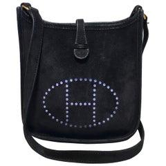 Hermes Black Suede Evelyne TPM Mini Shoulder Bag