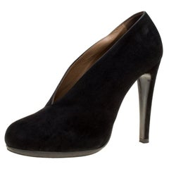 Hermes Black Suede Florida Pumps Size 37.5