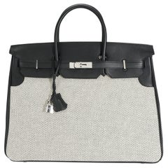 Hermès Black Swift Leather & Ecru Toile Birkin 40 PHW