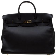 Hermes Black Swift Leather Gold Hardware Birkin 40 Bag