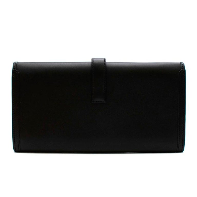 Hermes Black Swift Leather Jige Elan 29 Clutch In New Condition For Sale In London, GB