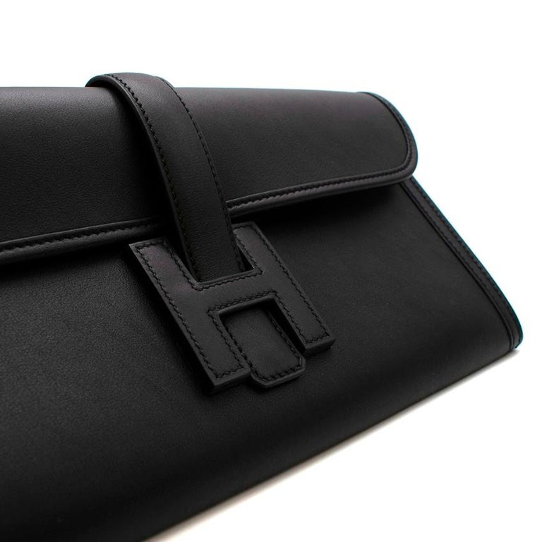 Hermes Black Swift Leather Jige Elan 29 Clutch For Sale 3
