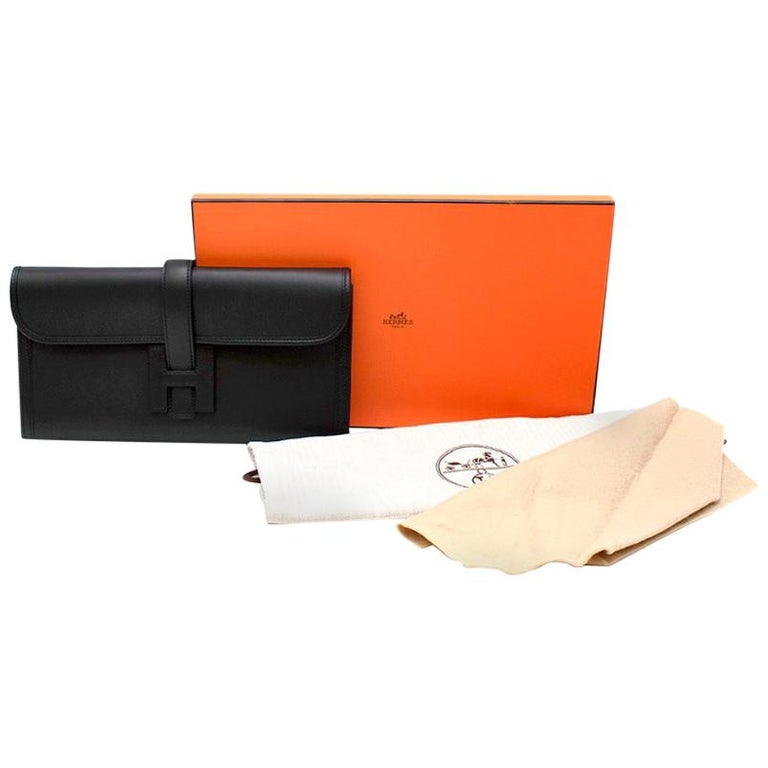 Hermes Black Swift Leather Jige Elan 29 Clutch For Sale