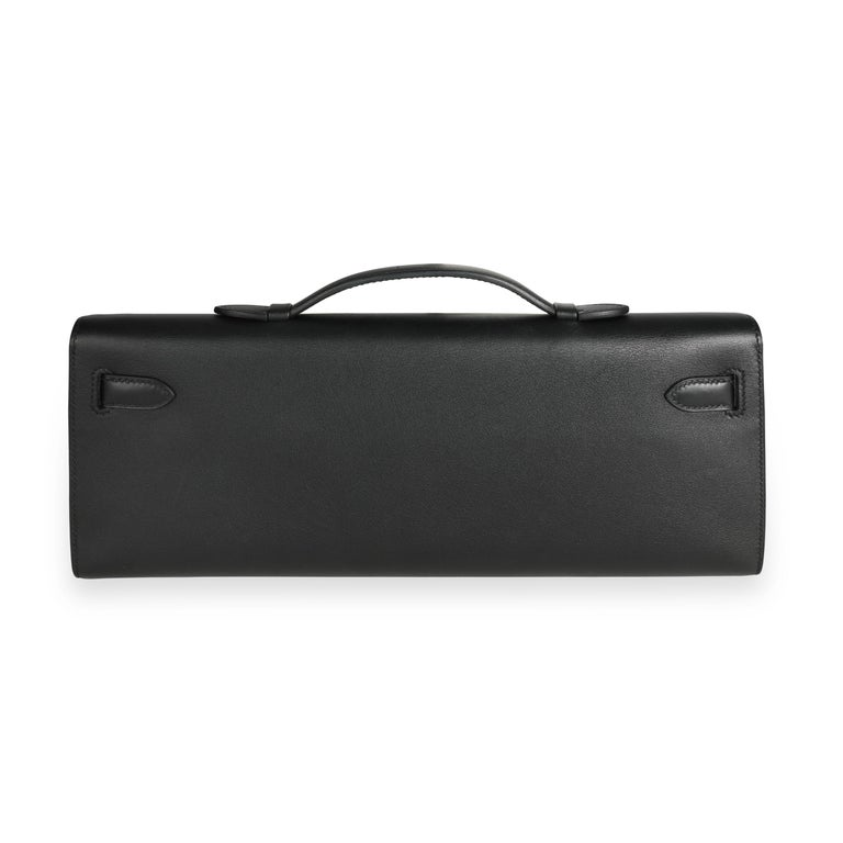 Hermès Black Swift Leather Kelly Cut PHW In Good Condition For Sale In New York, NY