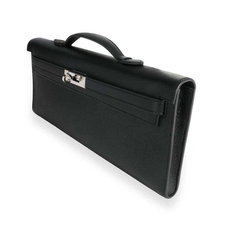Women's Hermès Black Swift Leather Kelly Cut PHW For Sale