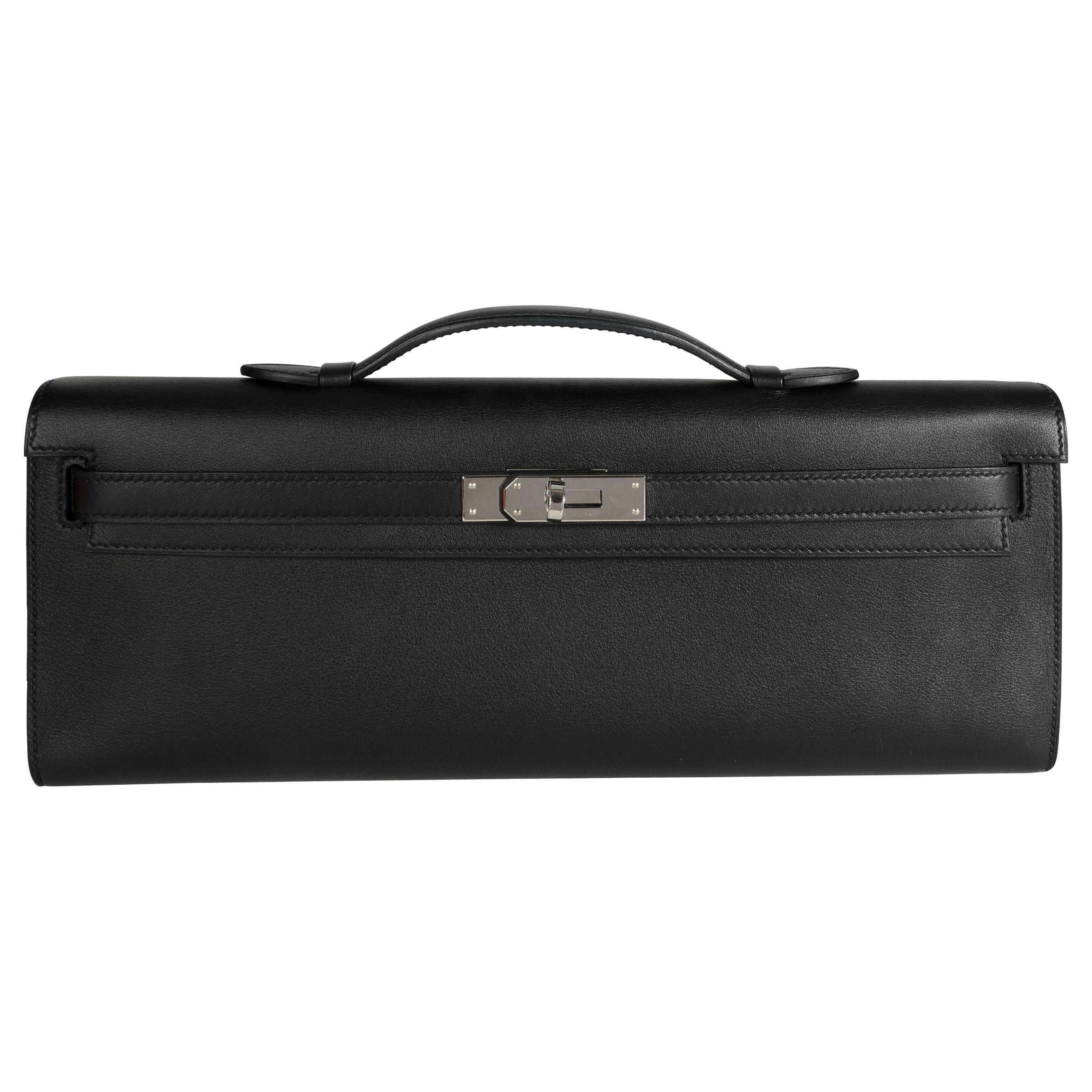 Hermès Black Swift Leather Kelly Cut PHW
