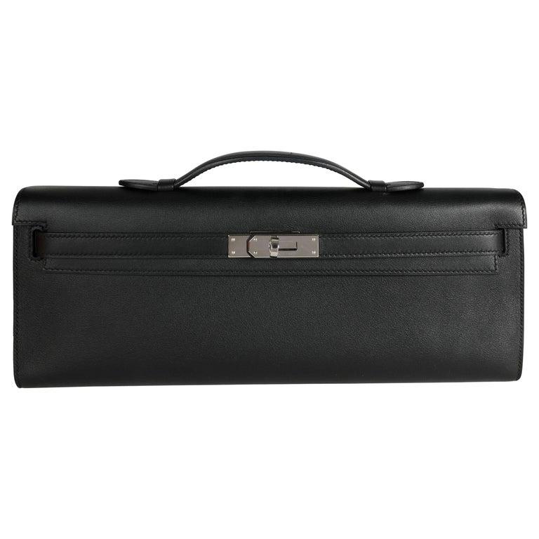 Hermès Black Swift Leather Kelly Cut PHW For Sale