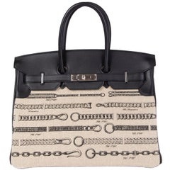 HERMES black Swift leather & Toile DE CHAMP DECHAINEE & Palladium BIRKIN 35 Bag
