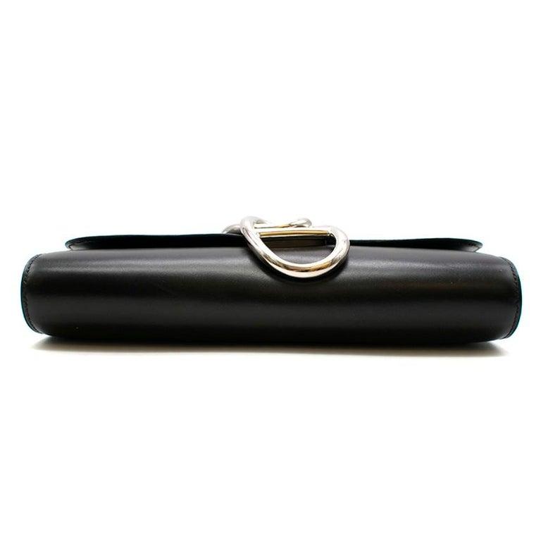 Women's Hermes Black Tadelakt Leather Egee Clutch PHW For Sale