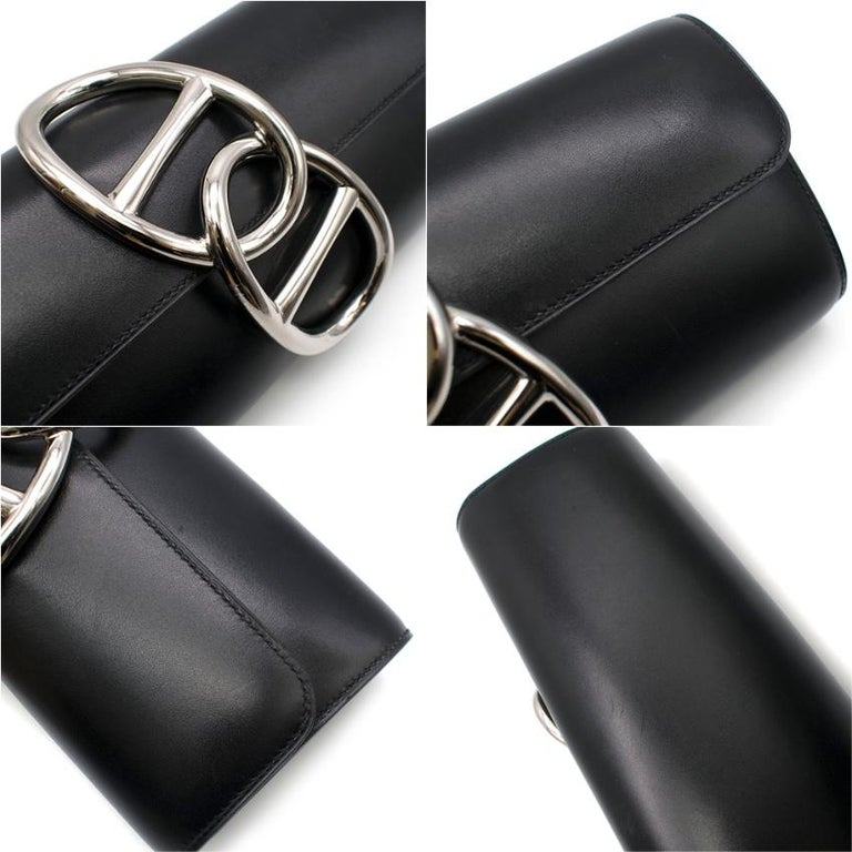 Hermes Black Tadelakt Leather Egee Clutch PHW For Sale 2