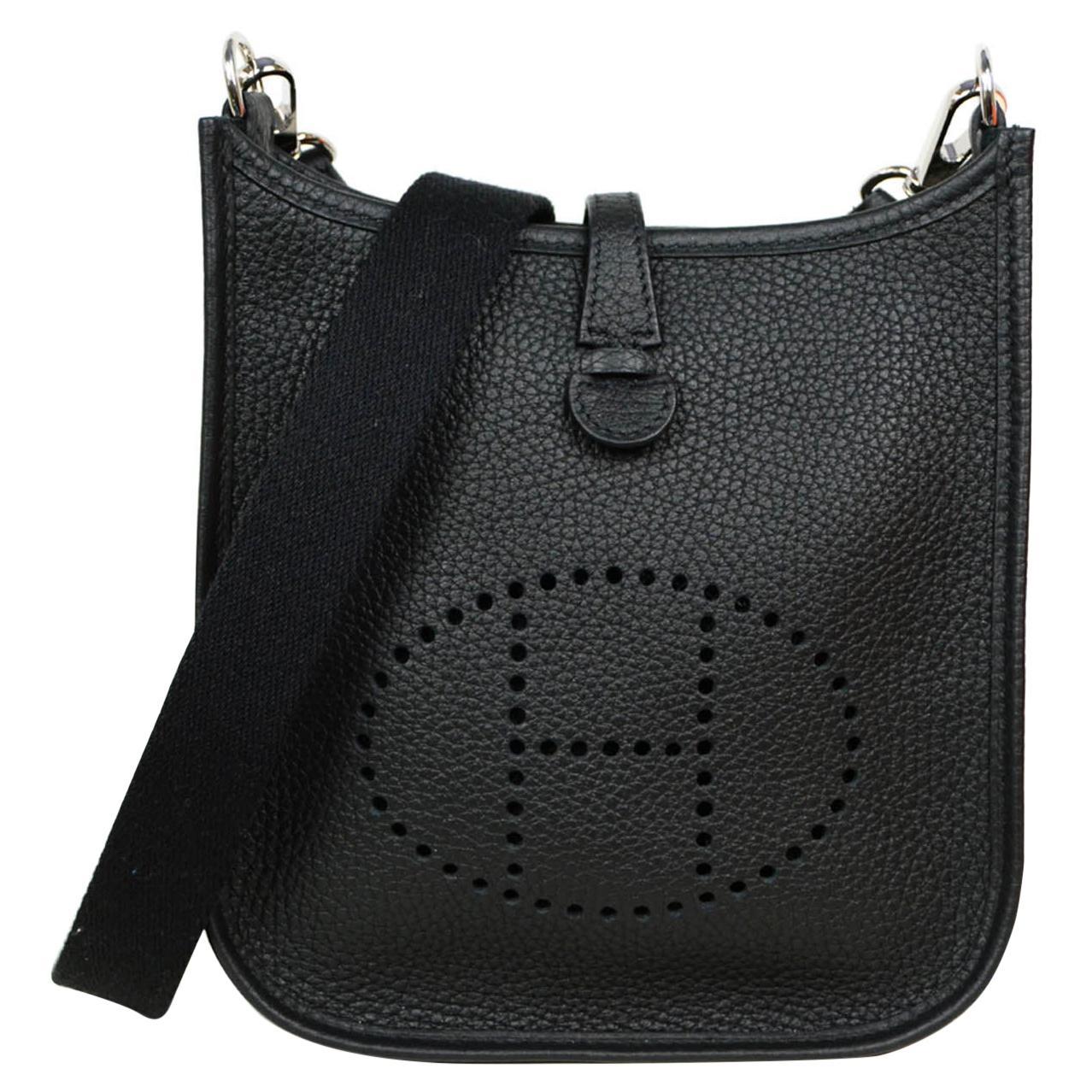 Hermes Black Taurillon Clemence Leather Evelyne TPM Crossbody Bag