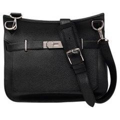 Hermes Black Taurillon Clemence Leather Palladium Plated Jypsiere 34 Bag