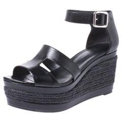Hermes Black Textured Patent Leather Ilana Espadrille Wedges Sandals Size 40