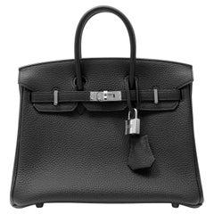 Hermès Black Togo 25 cm Birkin Bag