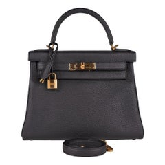 Hermes Black Togo Kelly 28 Gold Hardware