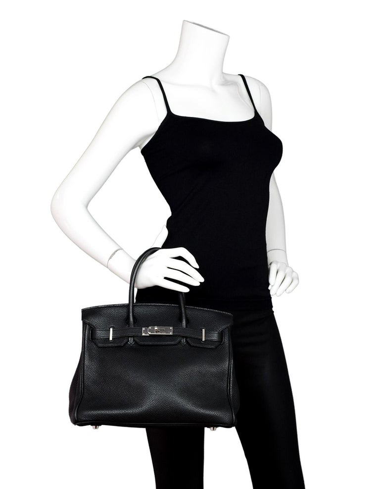 Hermes Black Togo Leather 30CM Birkin Bag PHW Palladium. Missing Lock, Key and Clochette.  Made In: France Year of Production: 2007 Color: Black  Hardware: Palladium  Materials: Black togo leather Lining: Black leather  Closure/Opening: Flap top