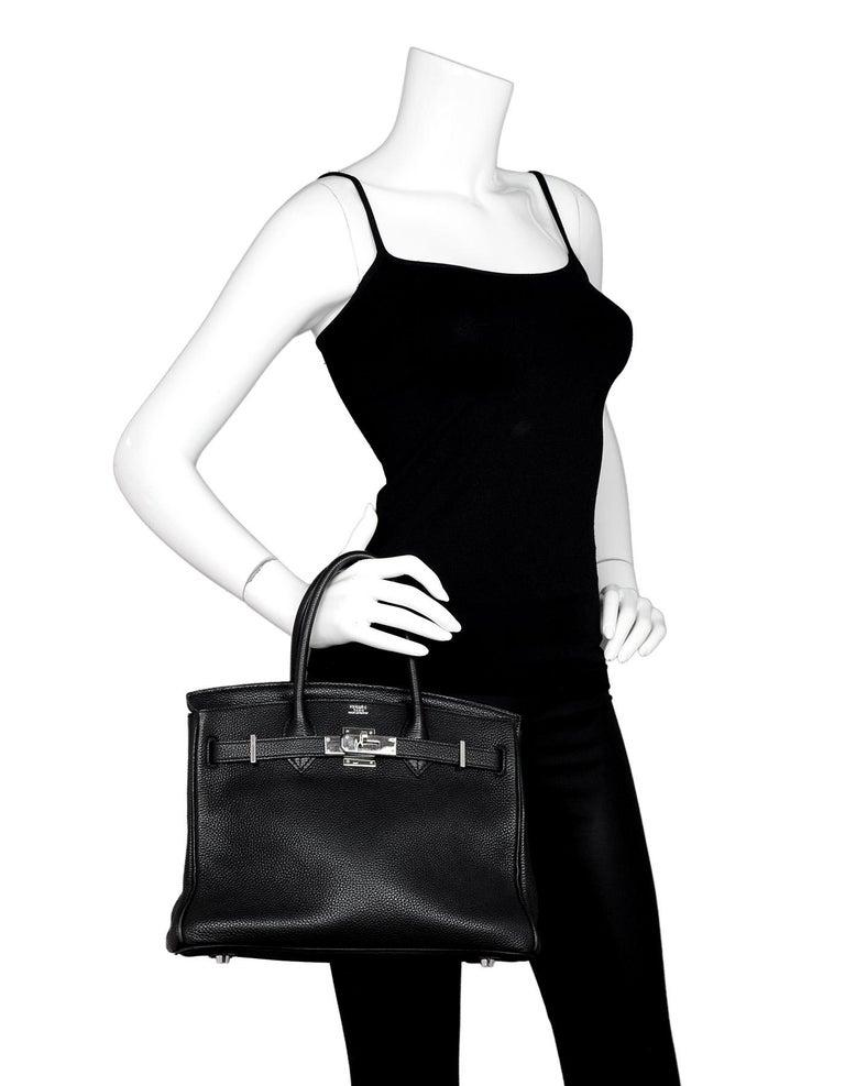 Women's Hermes Black Togo Leather 30CM Birkin Bag w. Palladium/Silvertone Hardware