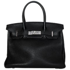 Hermes Black Togo Leather 30CM Birkin Bag w. Palladium/Silvertone Hardware