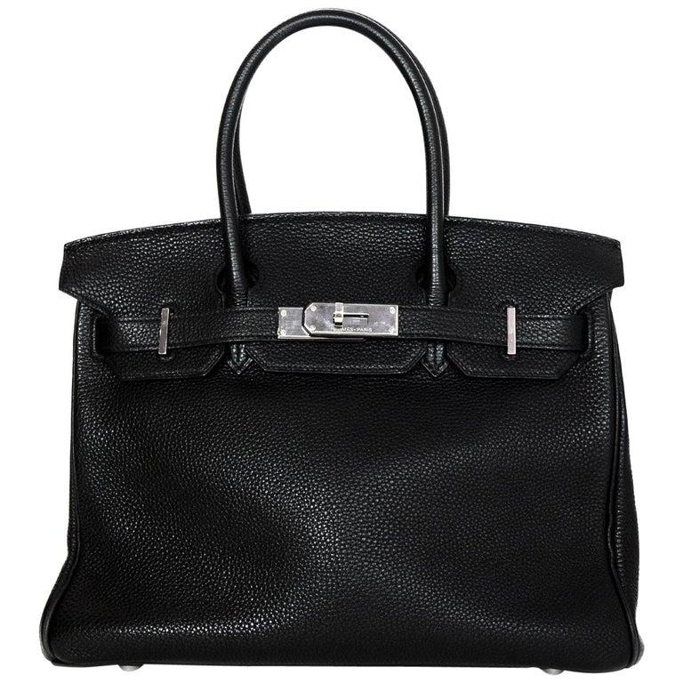 Hermes Black Togo Leather 30CM Birkin Bag w. Palladium/Silvertone Hardware