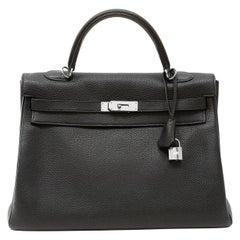 Hermès Black Togo Leather 35 cm Kelly Bag with Palladium