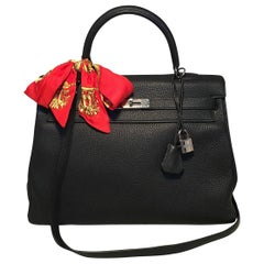 Hermes Black Togo Leather 35 cm Kelly Bag with Strap