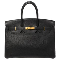 Hermès Black Togo Leather Gold Finished Birkin 35 Bag