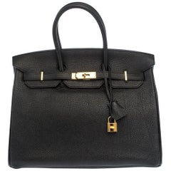 Hermes Black Togo Leather Gold Hardware Birkin 35 Bag