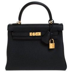 Hermes Black Togo Leather Gold Hardware Kelly Retourne 25 Bag