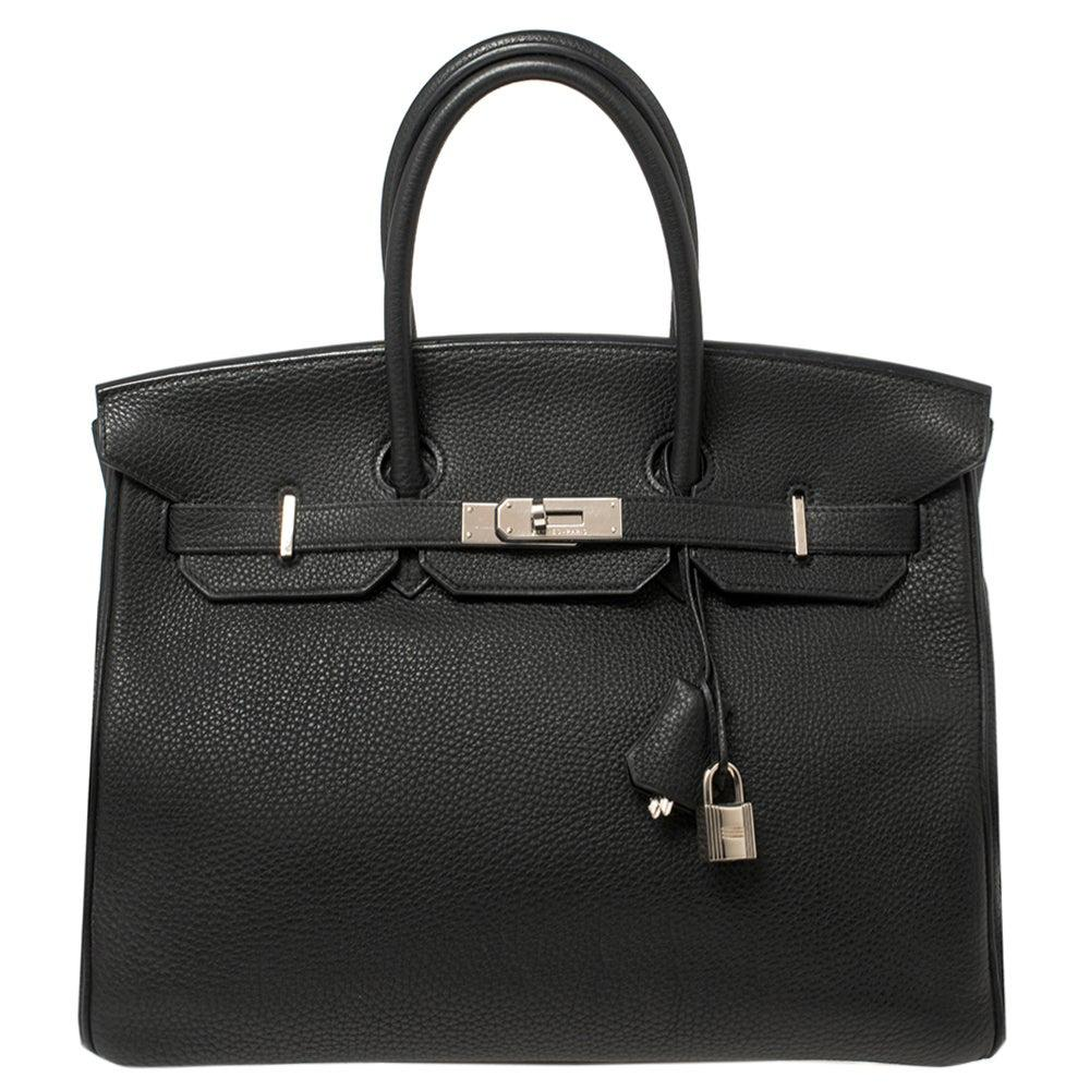 Hermes Black Togo Leather Palladium Hardware Birkin 35 Bag