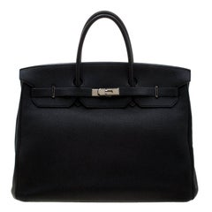 Hermes Black Togo Leather Palladium Hardware Birkin 40 Bag
