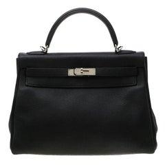 Hermes Black Togo Leather Palladium Hardware Kelly Retourne 32 Bag