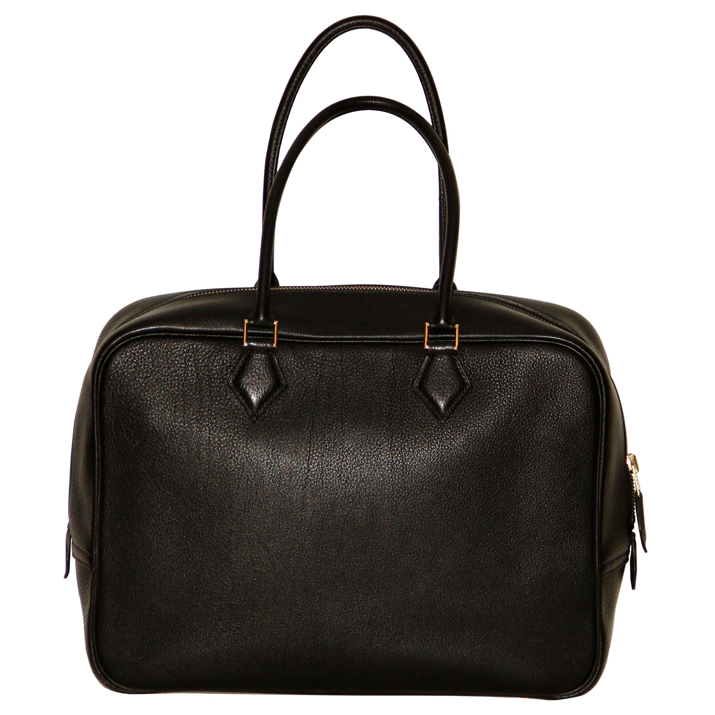 Hermes Black Togo Leather Plume 32