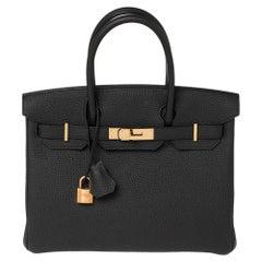 Hermes Black Togo Leather Rose Gold Finished Birkin 30 Bag