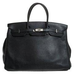 Hermes Black Togo Leather Silver Hardware Birkin 40 Bag