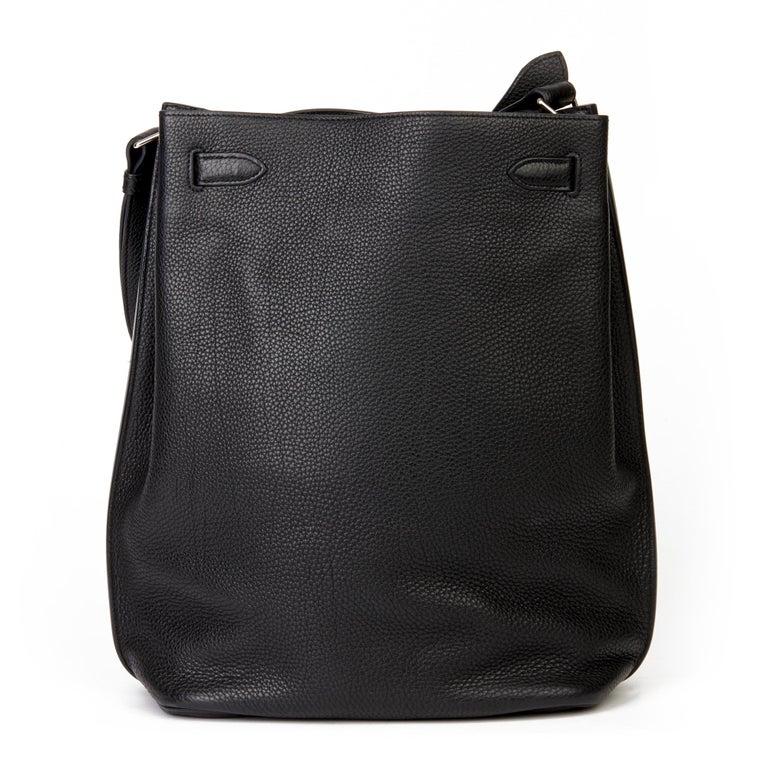 Women's Hermès Black Togo Leather So Kelly 26cm For Sale