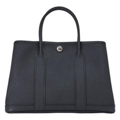 Hermes Black TPM Garden Party  Epsom Satchel Bag
